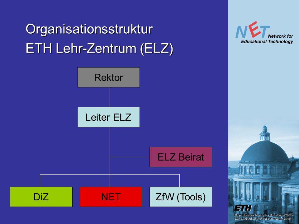 Organisationsstruktur Rektor Leiter ELZ DiZNETZfW (Tools) ELZ Beirat ETH Lehr-Zentrum (ELZ)
