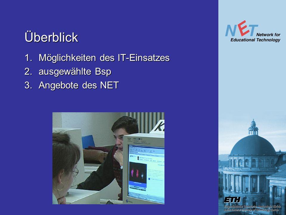 Überblick 1. Möglichkeiten des IT-Einsatzes 2. ausgewählte Bsp 3. Angebote des NET