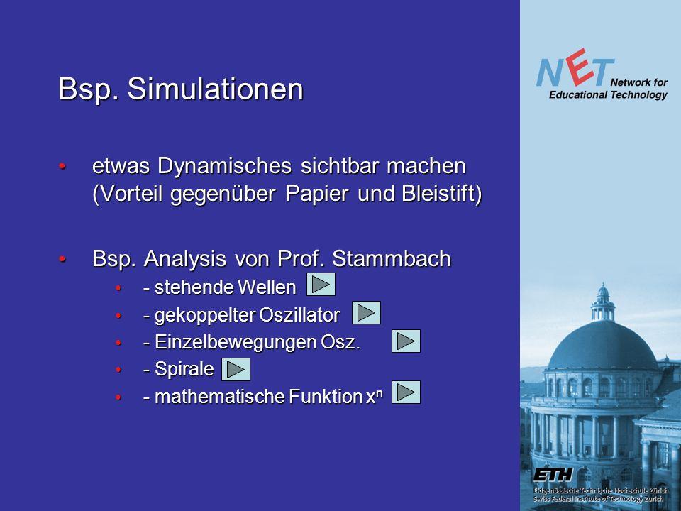 Bsp. Simulationen etwas Dynamisches sichtbar machen (Vorteil gegenüber Papier und Bleistift) etwas Dynamisches sichtbar machen (Vorteil gegenüber Papi