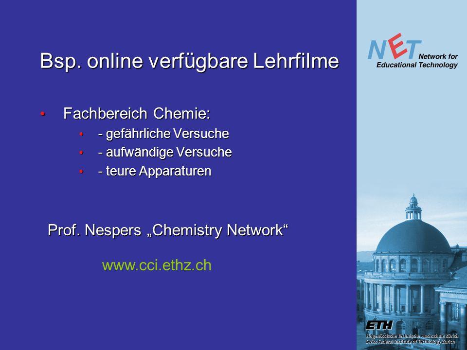 Bsp. online verfügbare Lehrfilme Fachbereich Chemie: Fachbereich Chemie: - gefährliche Versuche - gefährliche Versuche - aufwändige Versuche - aufwänd