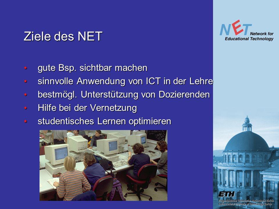 Ziele des NET gute Bsp. sichtbar machen gute Bsp. sichtbar machen sinnvolle Anwendung von ICT in der Lehre sinnvolle Anwendung von ICT in der Lehre be