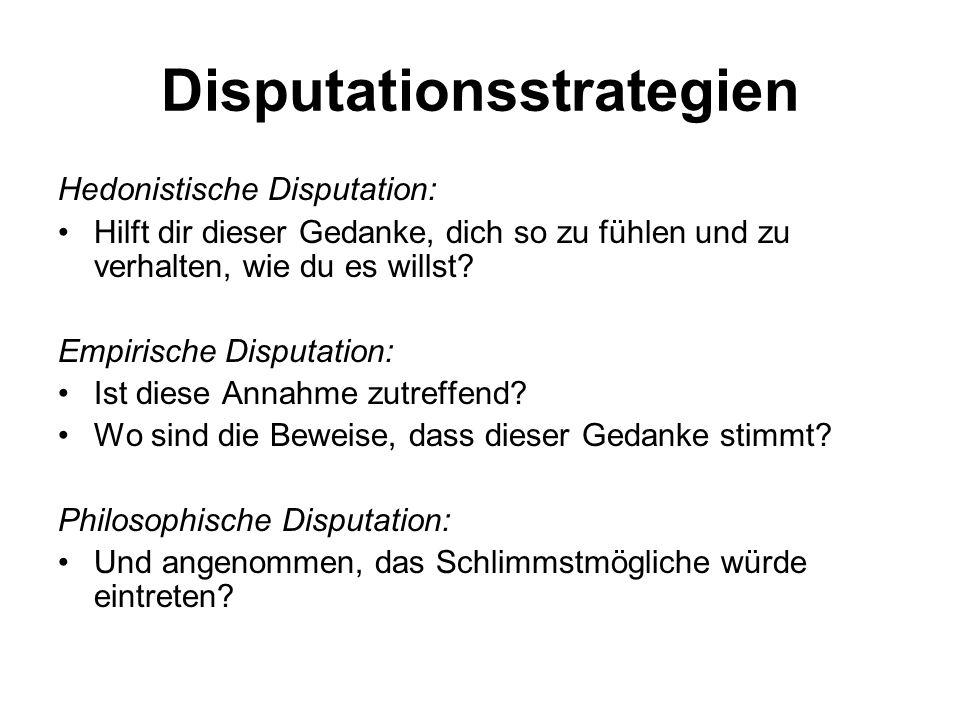 Disputationsstrategien Hedonistische Disputation: Hilft dir dieser Gedanke, dich so zu fühlen und zu verhalten, wie du es willst? Empirische Disputati