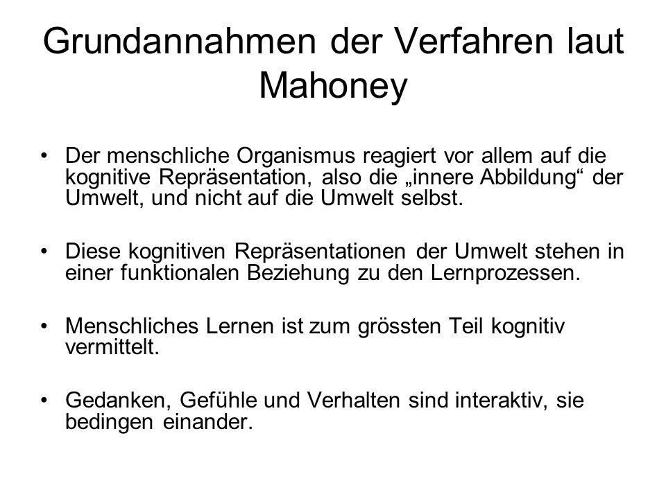 Grundannahmen der Verfahren laut Mahoney Der menschliche Organismus reagiert vor allem auf die kognitive Repräsentation, also die innere Abbildung der