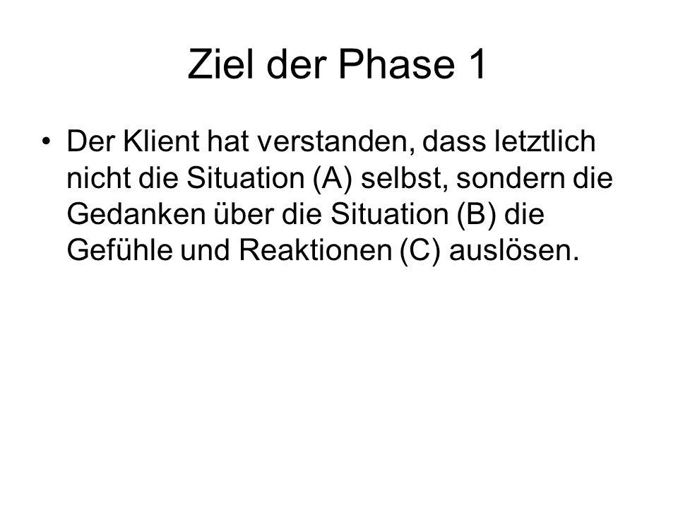 Ziel der Phase 1 Der Klient hat verstanden, dass letztlich nicht die Situation (A) selbst, sondern die Gedanken über die Situation (B) die Gefühle und