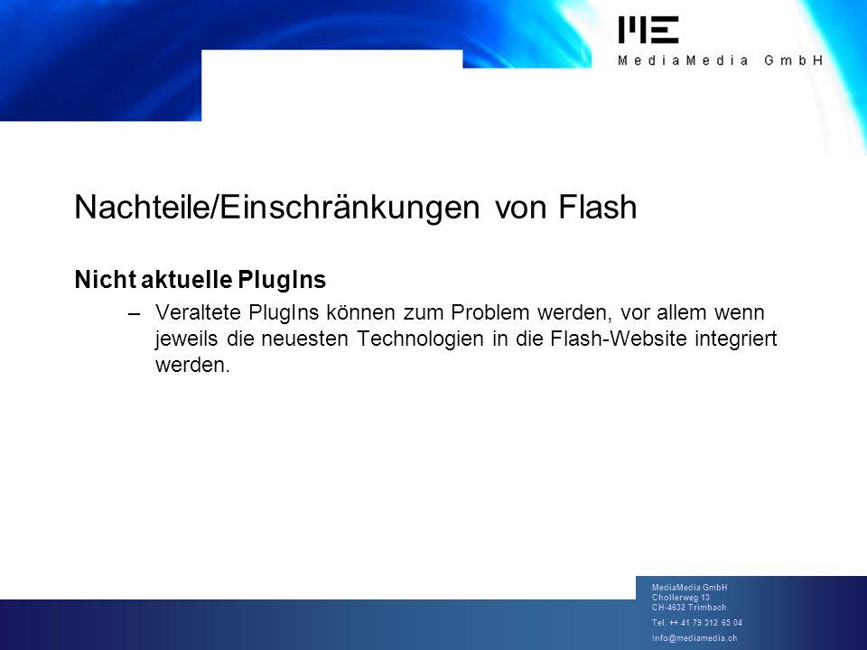 MediaMedia GmbH Chollerweg 13 CH-4632 Trimbach Tel. ++ 41 79 312 65 04 Info@mediamedia.ch Nachteile/Einschränkungen von Flash Nicht aktuelle PlugIns –