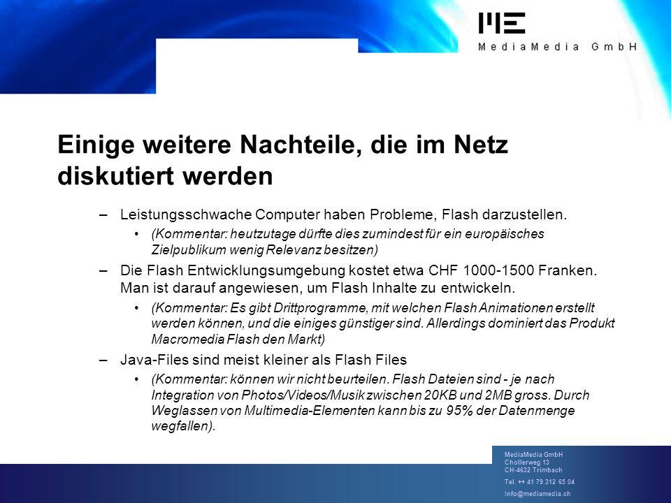 MediaMedia GmbH Chollerweg 13 CH-4632 Trimbach Tel. ++ 41 79 312 65 04 Info@mediamedia.ch Einige weitere Nachteile, die im Netz diskutiert werden –Lei