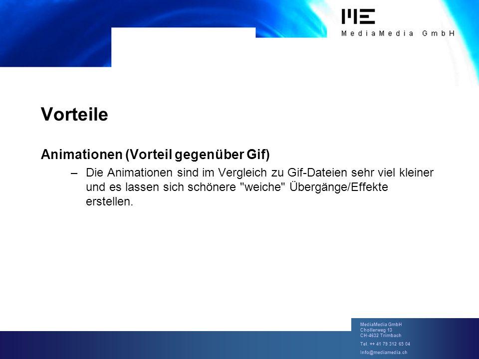 MediaMedia GmbH Chollerweg 13 CH-4632 Trimbach Tel. ++ 41 79 312 65 04 Info@mediamedia.ch Vorteile Animationen (Vorteil gegenüber Gif) –Die Animatione