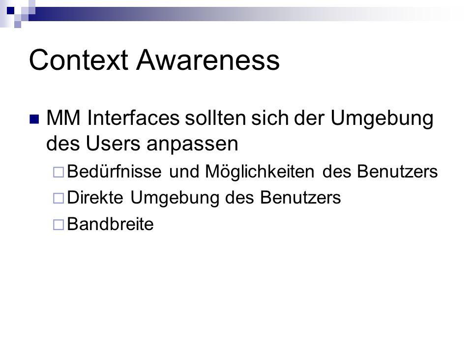 Context Awareness MM Interfaces sollten sich der Umgebung des Users anpassen Bedürfnisse und Möglichkeiten des Benutzers Direkte Umgebung des Benutzer