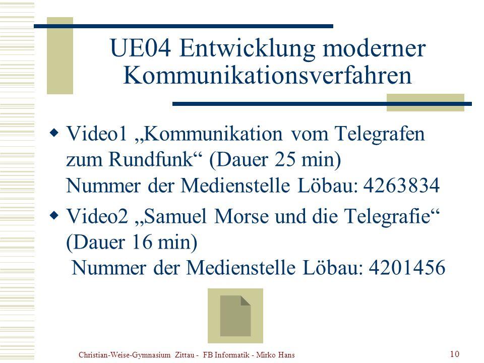Christian-Weise-Gymnasium Zittau - FB Informatik - Mirko Hans 10 UE04 Entwicklung moderner Kommunikationsverfahren Video1 Kommunikation vom Telegrafen
