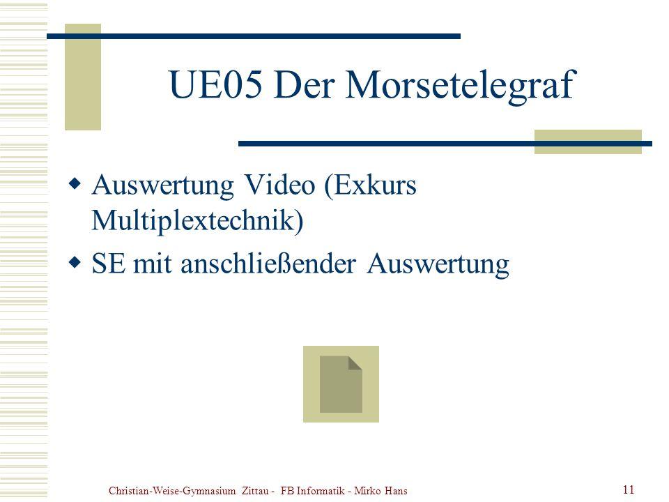Christian-Weise-Gymnasium Zittau - FB Informatik - Mirko Hans 11 UE05 Der Morsetelegraf Auswertung Video (Exkurs Multiplextechnik) SE mit anschließend