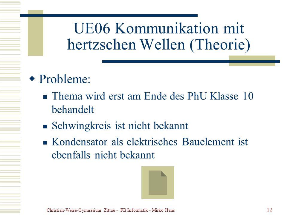 Christian-Weise-Gymnasium Zittau - FB Informatik - Mirko Hans 12 UE06 Kommunikation mit hertzschen Wellen (Theorie) Probleme: Thema wird erst am Ende