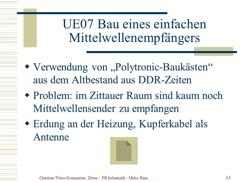 Christian-Weise-Gymnasium Zittau - FB Informatik - Mirko Hans 13 UE07 Bau eines einfachen Mittelwellenempfängers Verwendung von Polytronic-Baukästen a