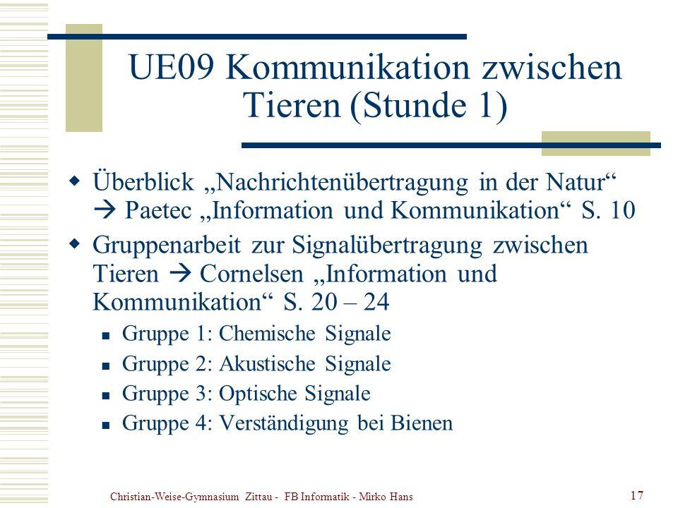 Christian-Weise-Gymnasium Zittau - FB Informatik - Mirko Hans 17 UE09 Kommunikation zwischen Tieren (Stunde 1) Überblick Nachrichtenübertragung in der