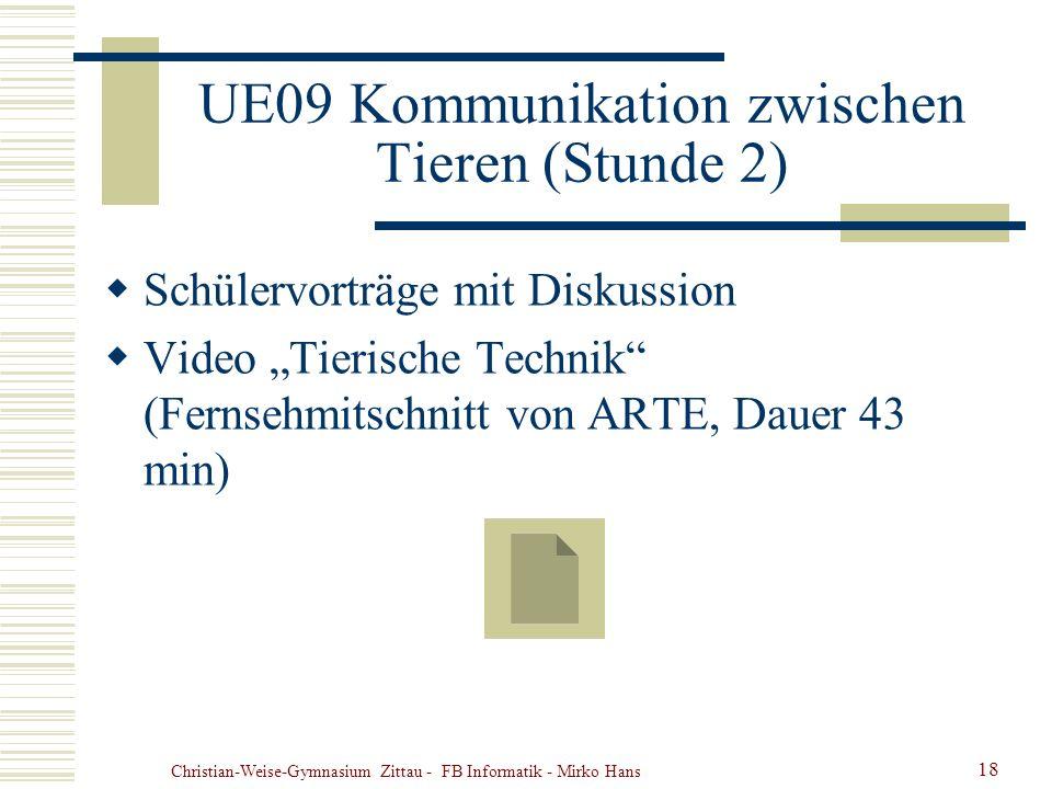 Christian-Weise-Gymnasium Zittau - FB Informatik - Mirko Hans 18 UE09 Kommunikation zwischen Tieren (Stunde 2) Schülervorträge mit Diskussion Video Ti