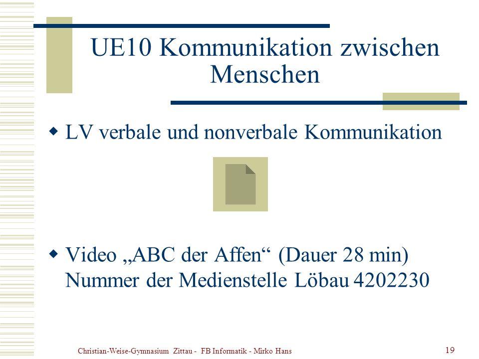 Christian-Weise-Gymnasium Zittau - FB Informatik - Mirko Hans 19 UE10 Kommunikation zwischen Menschen LV verbale und nonverbale Kommunikation Video AB