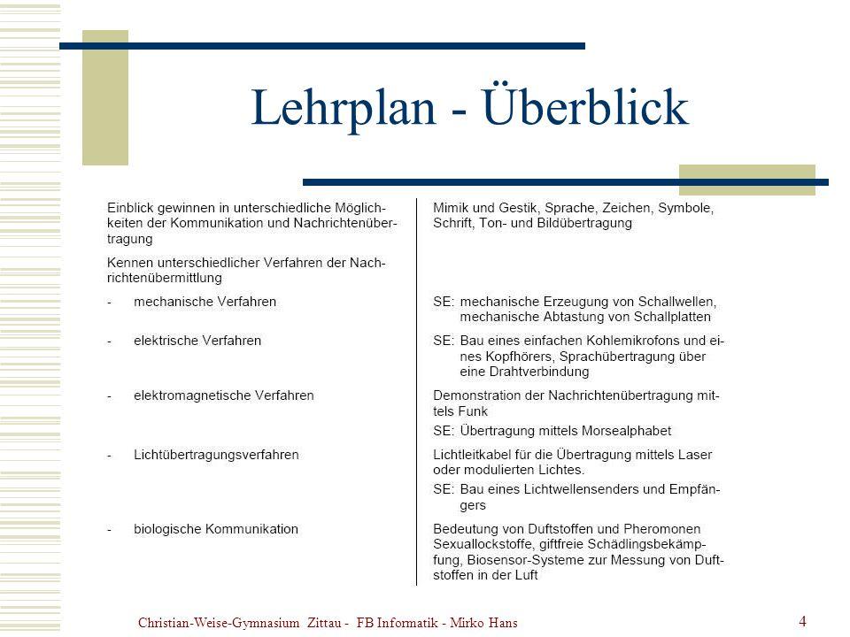 Christian-Weise-Gymnasium Zittau - FB Informatik - Mirko Hans 4 Lehrplan - Überblick