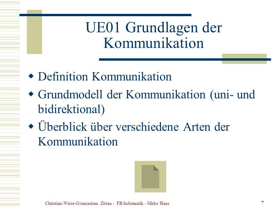 Christian-Weise-Gymnasium Zittau - FB Informatik - Mirko Hans 7 UE01 Grundlagen der Kommunikation Definition Kommunikation Grundmodell der Kommunikati