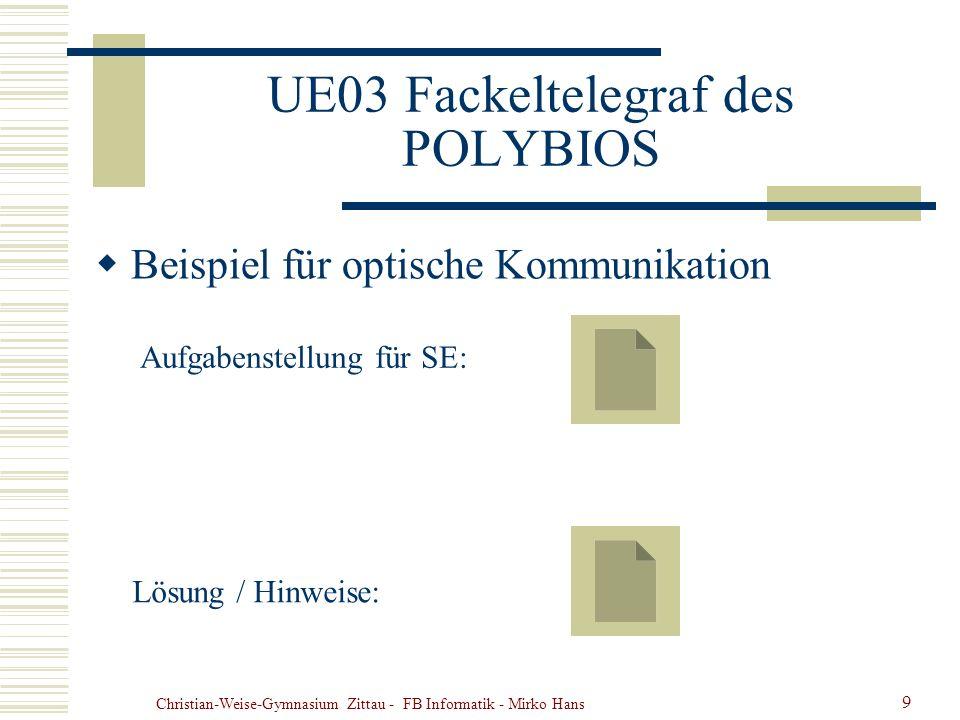 Christian-Weise-Gymnasium Zittau - FB Informatik - Mirko Hans 9 UE03 Fackeltelegraf des POLYBIOS Beispiel für optische Kommunikation Aufgabenstellung