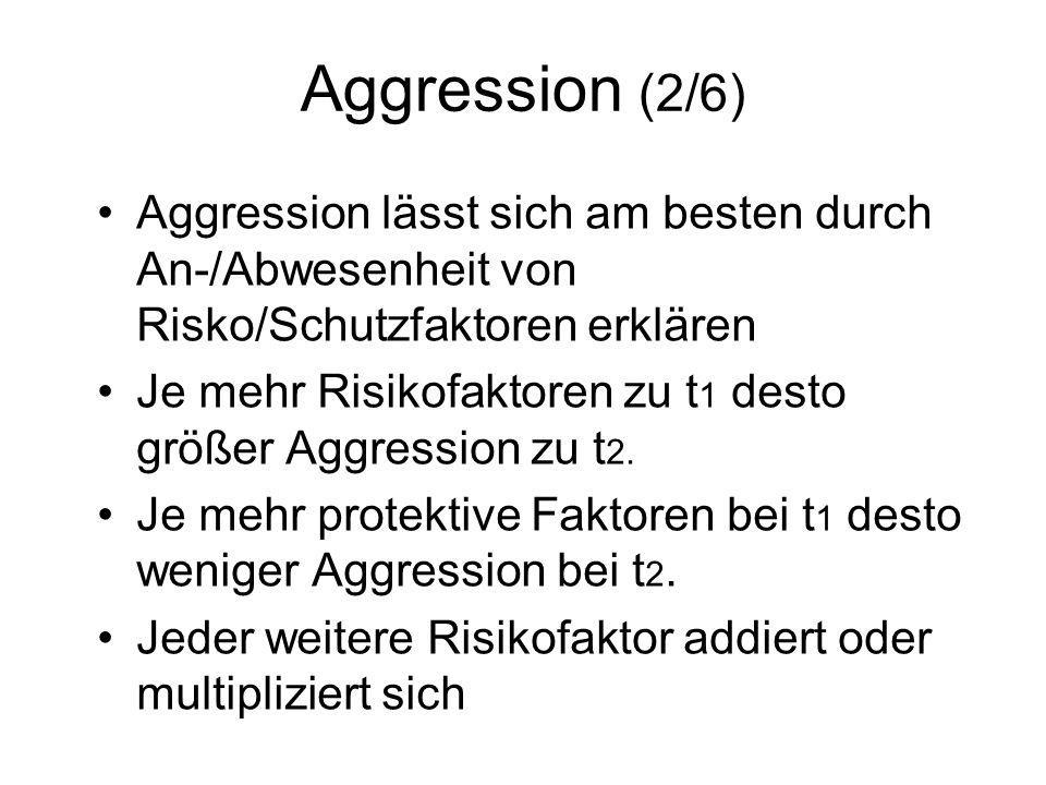 Aggression (2/6) Aggression lässt sich am besten durch An-/Abwesenheit von Risko/Schutzfaktoren erklären Je mehr Risikofaktoren zu t 1 desto größer Ag