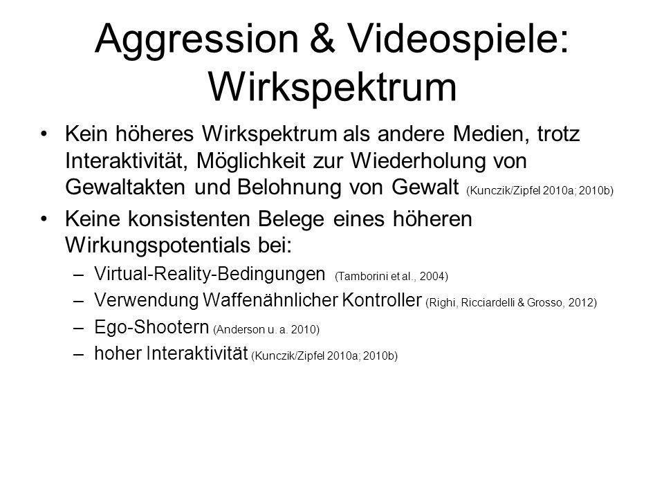 Aggression & Videospiele: Wirkspektrum Kein höheres Wirkspektrum als andere Medien, trotz Interaktivität, Möglichkeit zur Wiederholung von Gewaltakten