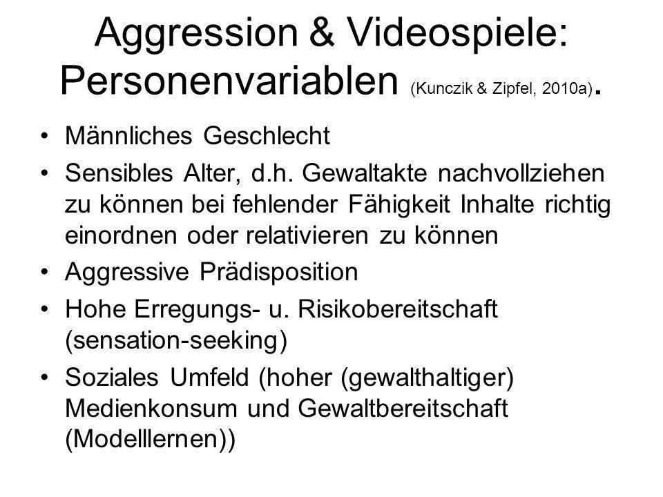 Aggression & Videospiele: Personenvariablen (Kunczik & Zipfel, 2010a). Männliches Geschlecht Sensibles Alter, d.h. Gewaltakte nachvollziehen zu können