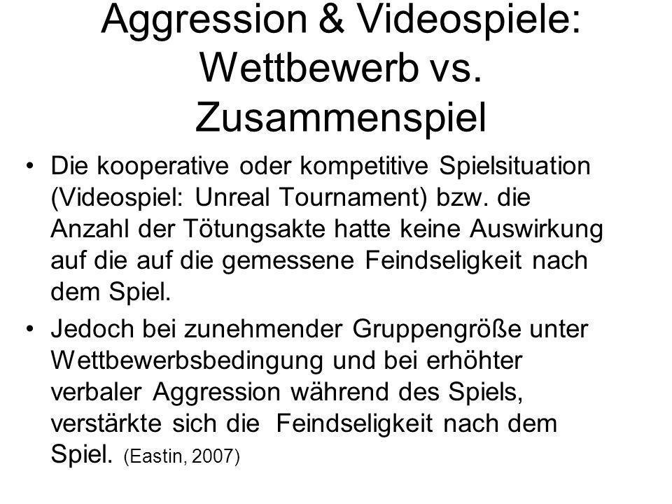 Aggression & Videospiele: Wettbewerb vs. Zusammenspiel Die kooperative oder kompetitive Spielsituation (Videospiel: Unreal Tournament) bzw. die Anzahl