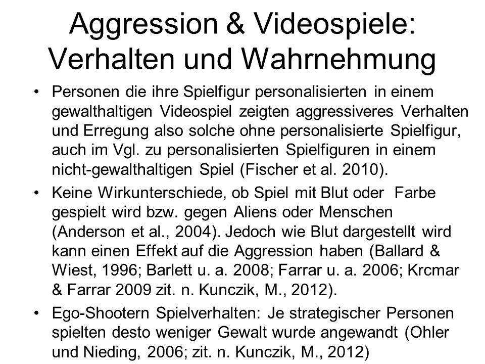 Aggression & Videospiele: Verhalten und Wahrnehmung Personen die ihre Spielfigur personalisierten in einem gewalthaltigen Videospiel zeigten aggressiv