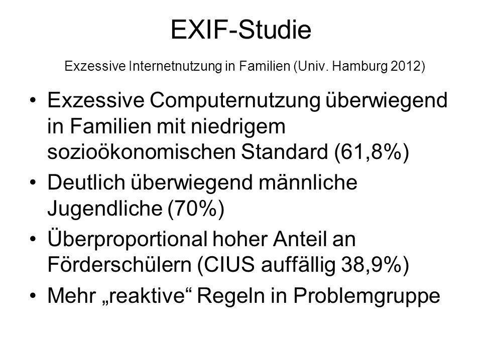 EXIF-Studie Exzessive Internetnutzung in Familien (Univ. Hamburg 2012) Exzessive Computernutzung überwiegend in Familien mit niedrigem sozioökonomisch