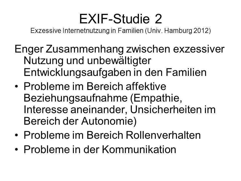 EXIF-Studie 2 Exzessive Internetnutzung in Familien (Univ. Hamburg 2012) Enger Zusammenhang zwischen exzessiver Nutzung und unbewältigter Entwicklungs