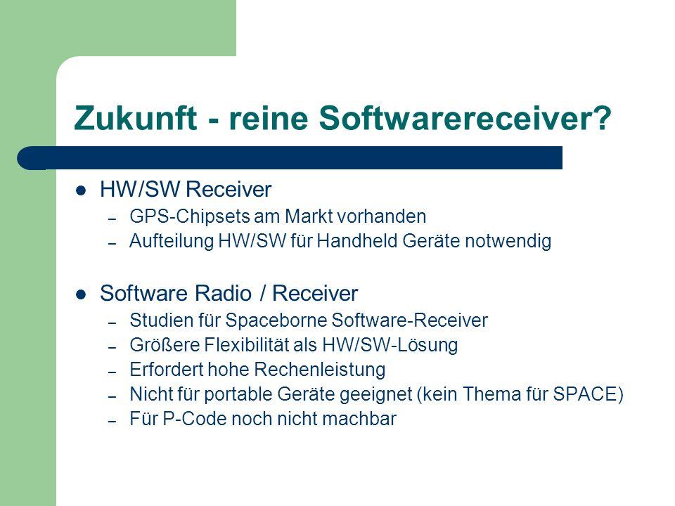 Zukunft - reine Softwarereceiver? HW/SW Receiver – GPS-Chipsets am Markt vorhanden – Aufteilung HW/SW für Handheld Geräte notwendig Software Radio / R