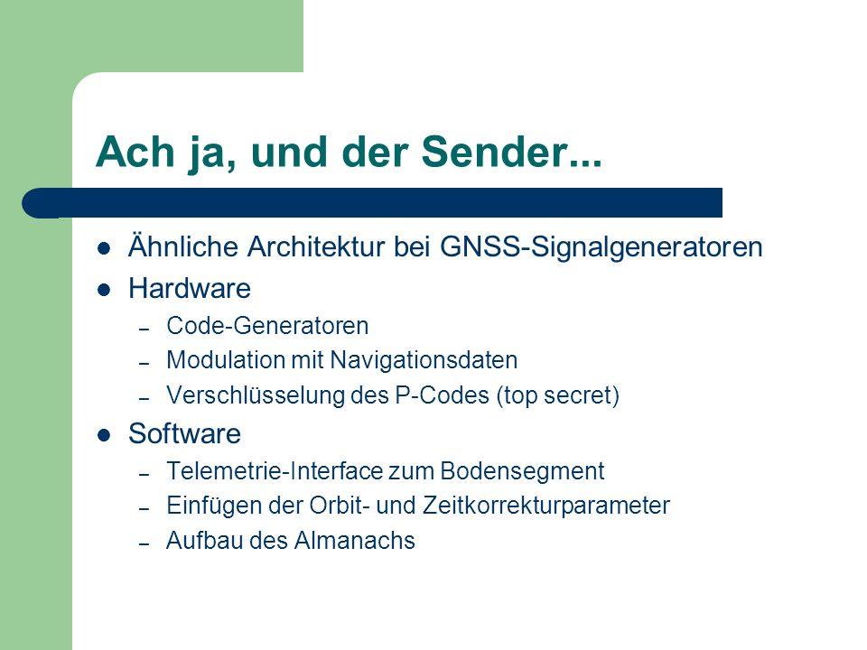 Ach ja, und der Sender... Ähnliche Architektur bei GNSS-Signalgeneratoren Hardware – Code-Generatoren – Modulation mit Navigationsdaten – Verschlüssel