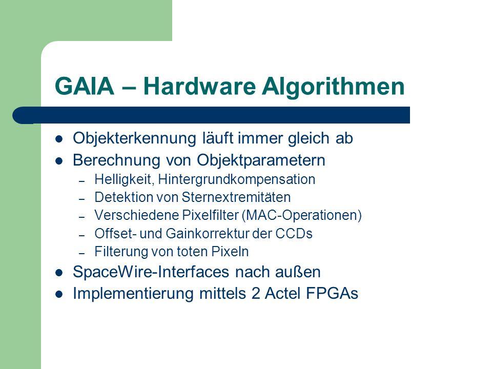 GAIA – Hardware Algorithmen Objekterkennung läuft immer gleich ab Berechnung von Objektparametern – Helligkeit, Hintergrundkompensation – Detektion vo