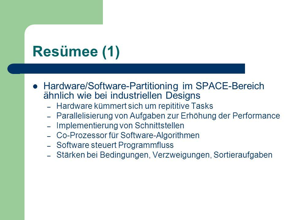 Resümee (1) Hardware/Software-Partitioning im SPACE-Bereich ähnlich wie bei industriellen Designs – Hardware kümmert sich um repititive Tasks – Parall
