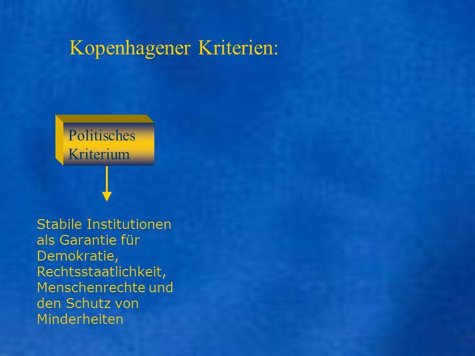 Kopenhagener Kriterien: Politisches Kriterium Stabile Institutionen als Garantie für Demokratie, Rechtsstaatlichkeit, Menschenrechte und den Schutz vo