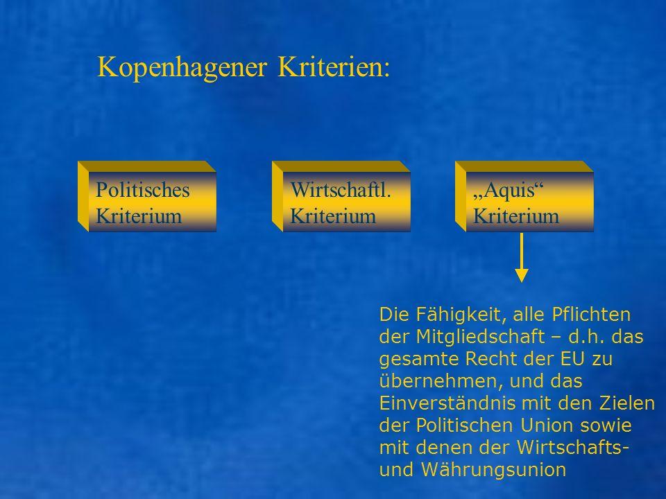 Kopenhagener Kriterien: Aquis Kriterium Die Fähigkeit, alle Pflichten der Mitgliedschaft – d.h. das gesamte Recht der EU zu übernehmen, und das Einver