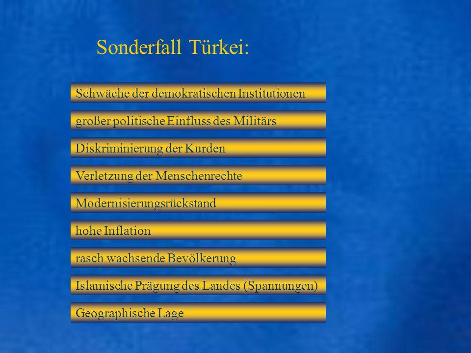 Sonderfall Türkei: Schwäche der demokratischen Institutionen großer politische Einfluss des Militärs Diskriminierung der Kurden Verletzung der Mensche