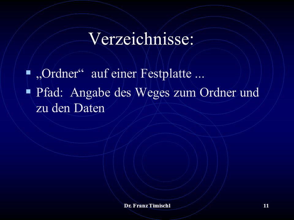 Dr. Franz Timischl11 Verzeichnisse: Ordner auf einer Festplatte... Pfad: Angabe des Weges zum Ordner und zu den Daten