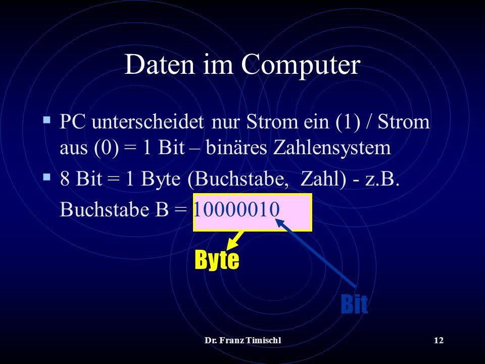 Dr. Franz Timischl12 PC unterscheidet nur Strom ein (1) / Strom aus (0) = 1 Bit – binäres Zahlensystem 8 Bit = 1 Byte (Buchstabe, Zahl) - z.B. Buchsta