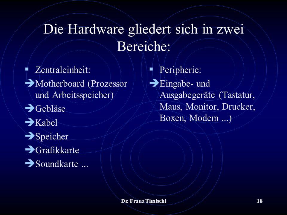 Dr. Franz Timischl18 Die Hardware gliedert sich in zwei Bereiche: Zentraleinheit: è Motherboard (Prozessor und Arbeitsspeicher) è Gebläse è Kabel è Sp