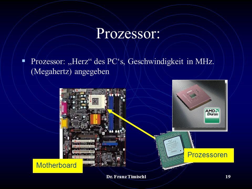 Dr. Franz Timischl19 Prozessor: Prozessor: Herz des PCs, Geschwindigkeit in MHz. (Megahertz) angegeben Motherboard Prozessoren