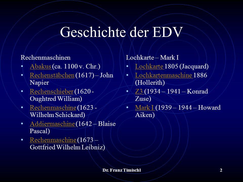 Dr. Franz Timischl2 Geschichte der EDV Rechenmaschinen Abakus (ca. 1100 v. Chr.) Abakus Rechenstäbchen (1617) – John Napier Rechenstäbchen Rechenschie
