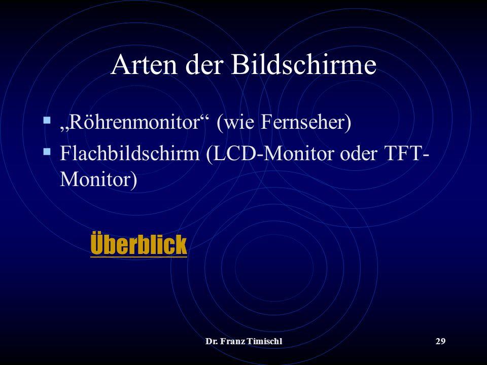 Dr. Franz Timischl29 Arten der Bildschirme Röhrenmonitor (wie Fernseher) Flachbildschirm (LCD-Monitor oder TFT- Monitor) Überblick