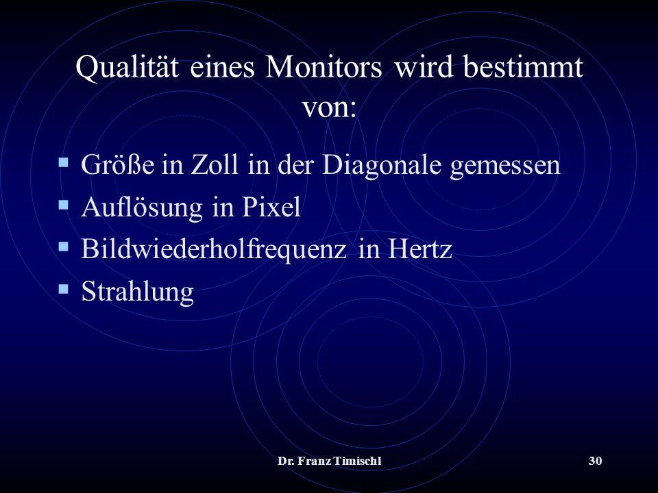 Dr. Franz Timischl30 Qualität eines Monitors wird bestimmt von: Größe in Zoll in der Diagonale gemessen Auflösung in Pixel Bildwiederholfrequenz in He