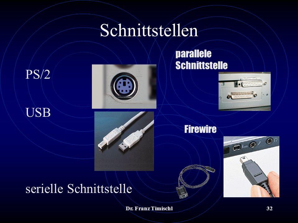Dr. Franz Timischl32 PS/2 USB serielle Schnittstelle Schnittstellen parallele Schnittstelle Firewire