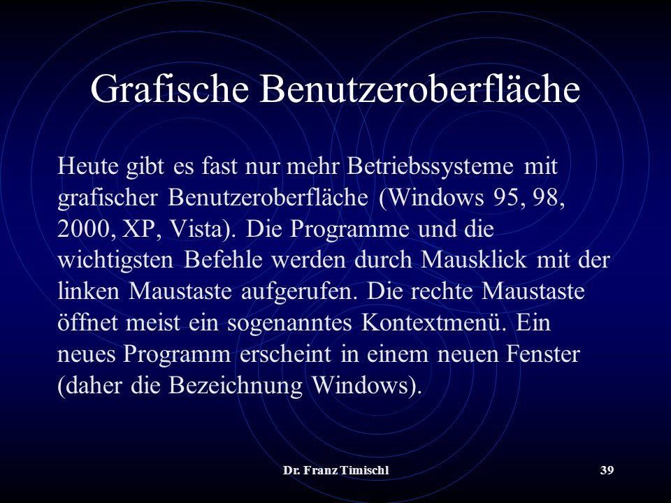 Dr. Franz Timischl39 Grafische Benutzeroberfläche Heute gibt es fast nur mehr Betriebssysteme mit grafischer Benutzeroberfläche (Windows 95, 98, 2000,