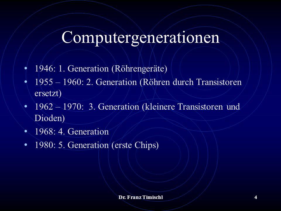 Dr. Franz Timischl4 Computergenerationen 1946: 1. Generation (Röhrengeräte) 1955 – 1960: 2. Generation (Röhren durch Transistoren ersetzt) 1962 – 1970