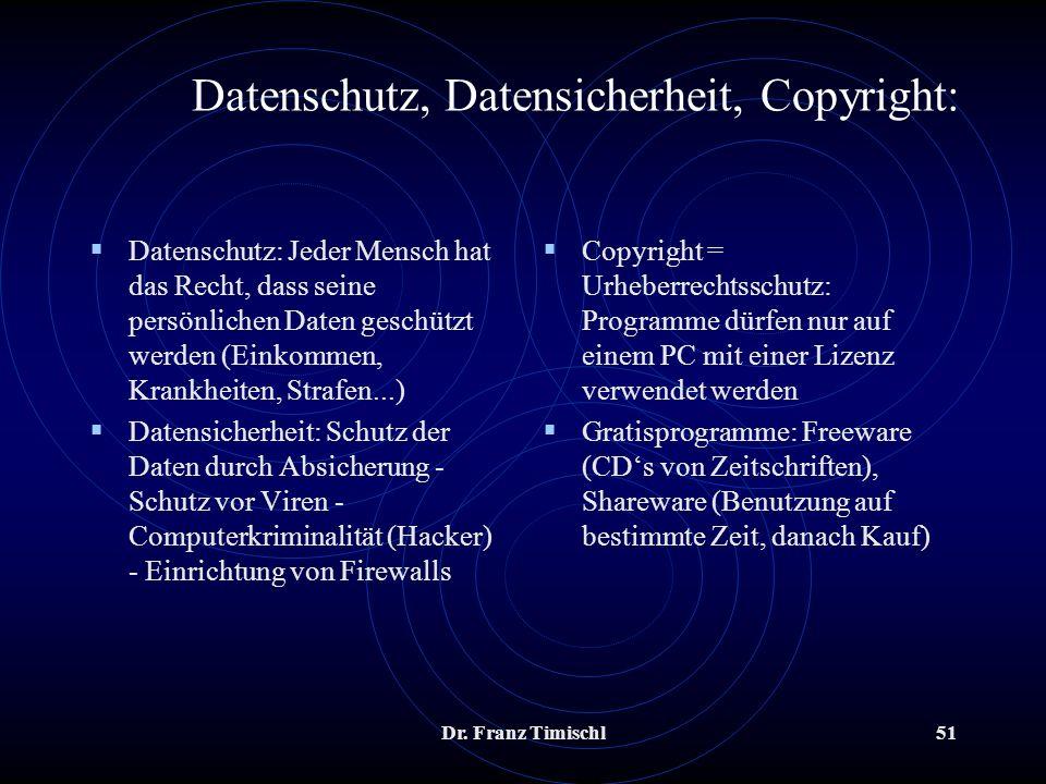 Dr. Franz Timischl51 Datenschutz, Datensicherheit, Copyright: Datenschutz: Jeder Mensch hat das Recht, dass seine persönlichen Daten geschützt werden