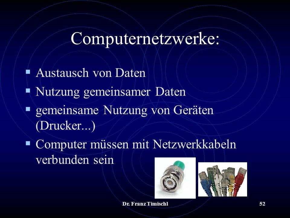 Dr. Franz Timischl52 Computernetzwerke: Austausch von Daten Nutzung gemeinsamer Daten gemeinsame Nutzung von Geräten (Drucker...) Computer müssen mit