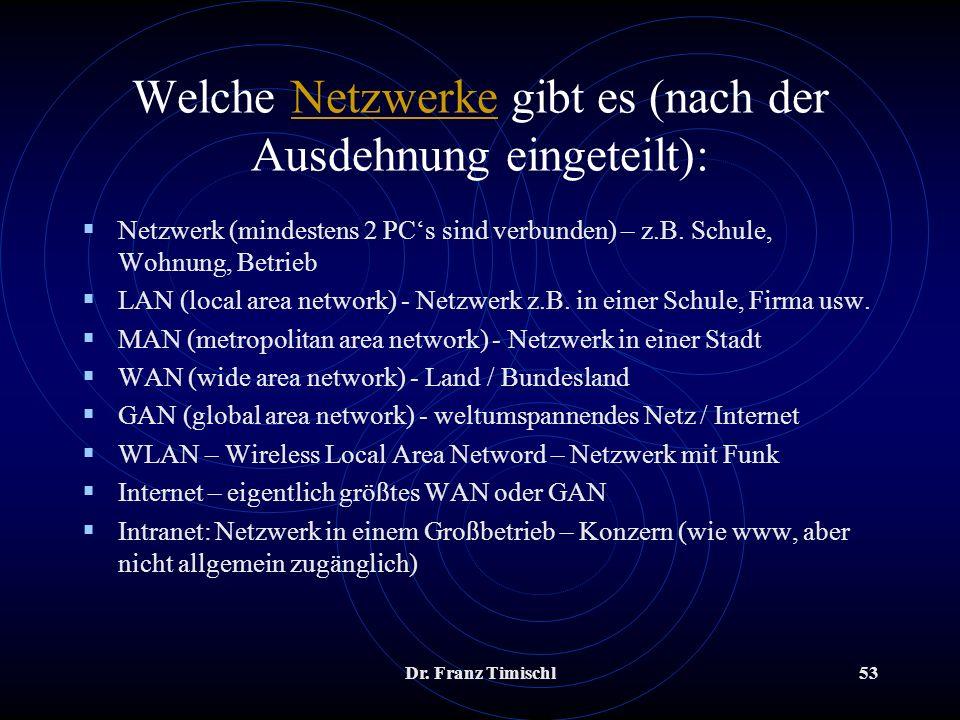 Dr. Franz Timischl53 Welche Netzwerke gibt es (nach der Ausdehnung eingeteilt):Netzwerke Netzwerk (mindestens 2 PCs sind verbunden) – z.B. Schule, Woh