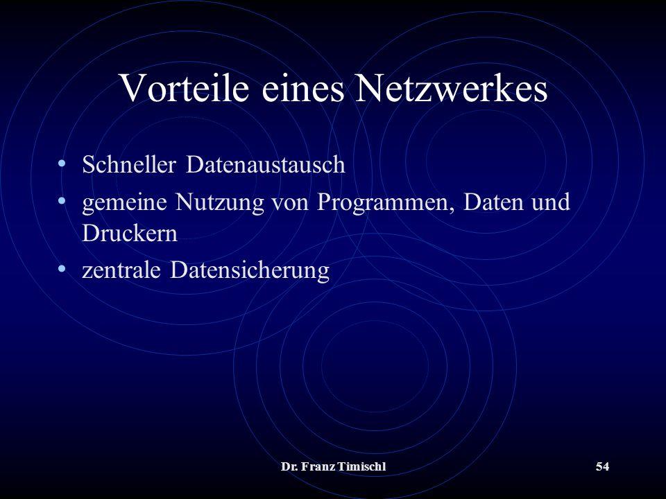 Dr. Franz Timischl54 Vorteile eines Netzwerkes Schneller Datenaustausch gemeine Nutzung von Programmen, Daten und Druckern zentrale Datensicherung